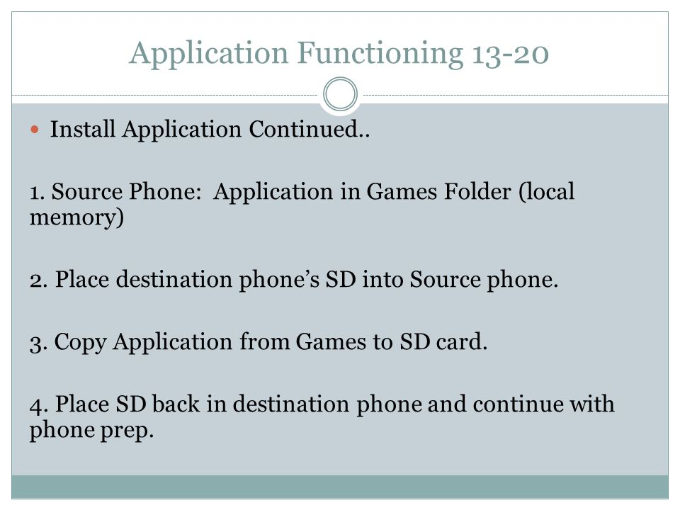 Application Functioning 13-20 Install Application Continued..