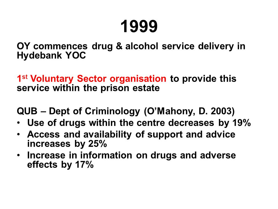 1999 OY commences drug & alcohol service delivery in Hydebank YOC 1 st Voluntary Sector organisation to provide this service within the prison estate