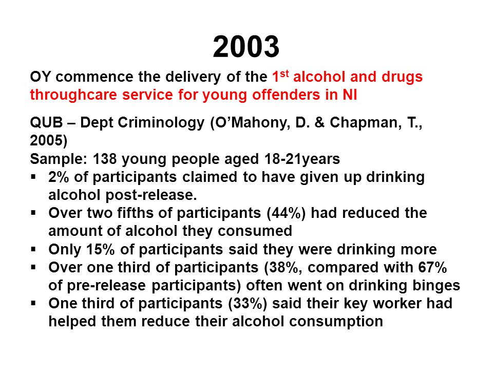 2003 OY commence the delivery of the 1 st alcohol and drugs throughcare service for young offenders in NI QUB – Dept Criminology (O'Mahony, D. & Chapm
