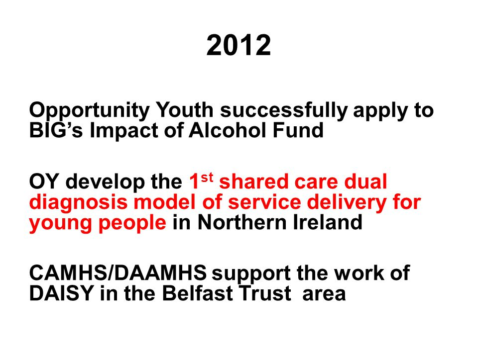 2012 Opportunity Youth successfully apply to BIG's Impact of Alcohol Fund OY develop the 1 st shared care dual diagnosis model of service delivery for young people in Northern Ireland CAMHS/DAAMHS support the work of DAISY in the Belfast Trust area