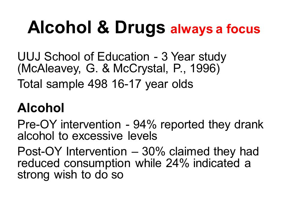 Alcohol & Drugs always a focus UUJ School of Education - 3 Year study (McAleavey, G.