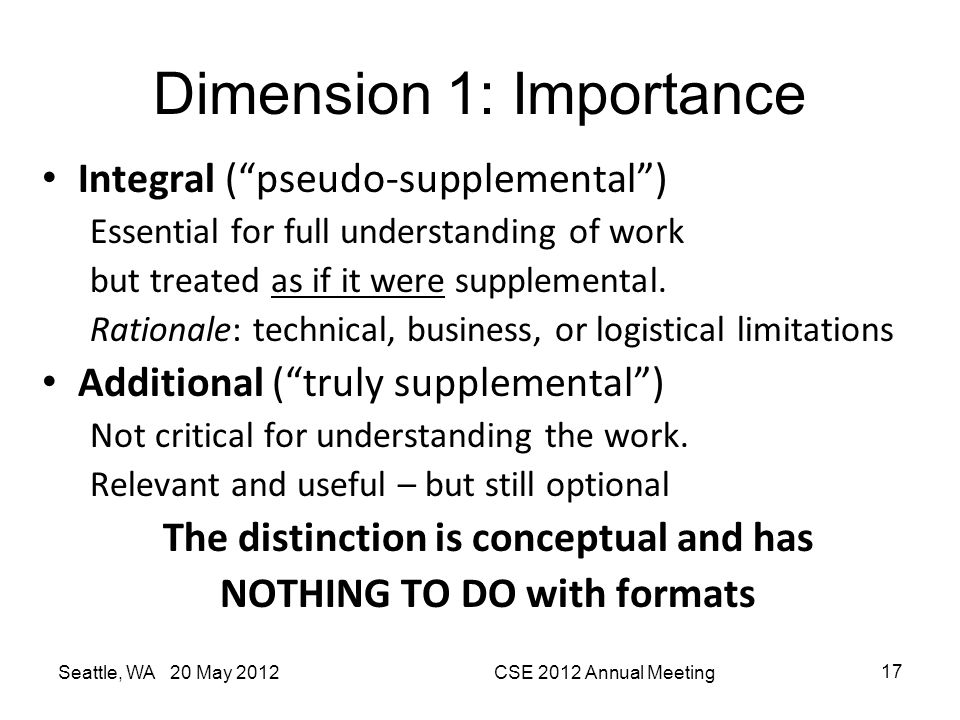 "Dimension 1: Importance Integral (""pseudo-supplemental"") Essential for full understanding of work but treated as if it were supplemental. Rationale: t"