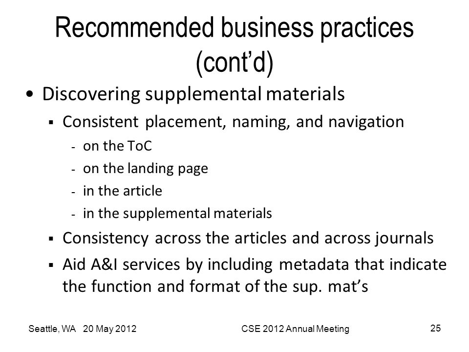 Recommended business practices (cont'd) Discovering supplemental materials  Consistent placement, naming, and navigation - on the ToC - on the landin