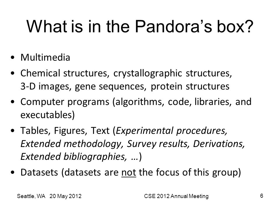 What is in the Pandora's box? Multimedia Chemical structures, crystallographic structures, 3-D images, gene sequences, protein structures Computer pro