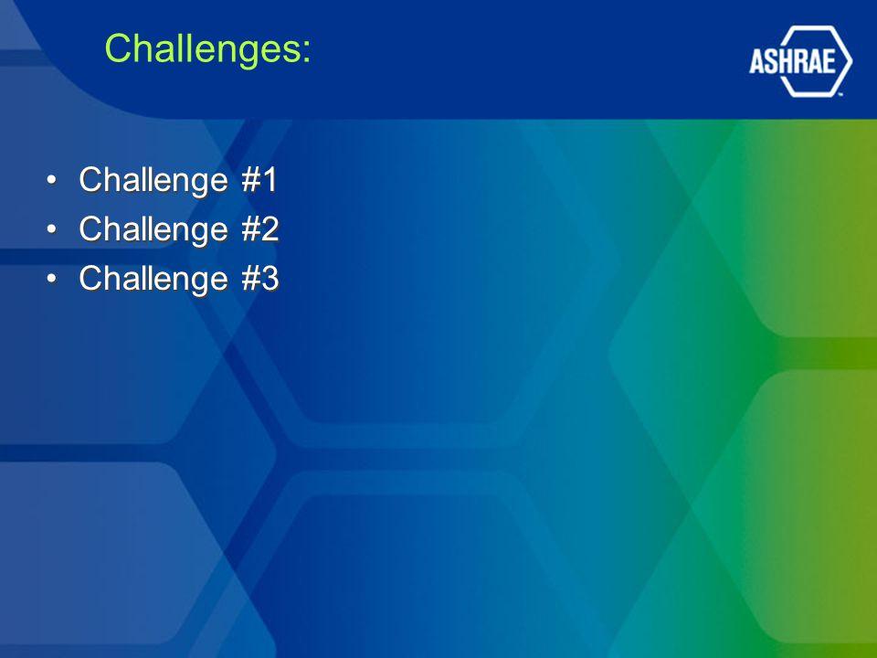 Challenges: Challenge #1 Challenge #2 Challenge #3 Challenge #1 Challenge #2 Challenge #3