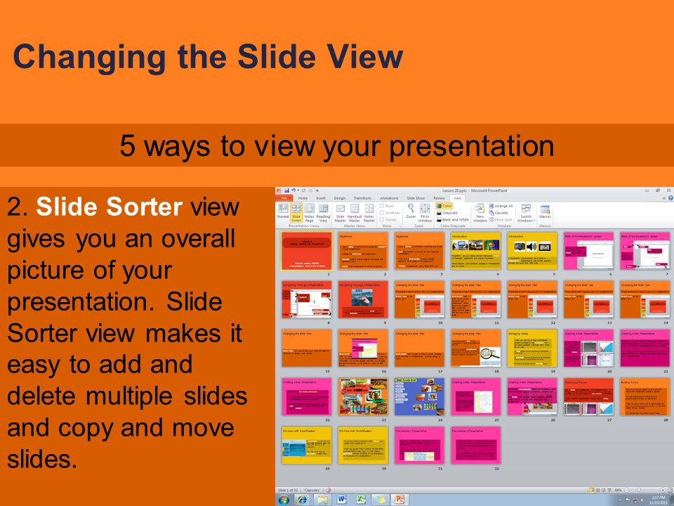 Changing the Slide View 1. Normal view is the default view. 5 ways to view your presentation