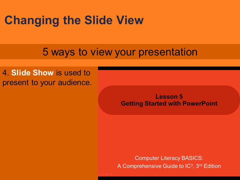 Changing the Slide View 3. Notes Page view lets you edit your notes and see how the notes will appear when printed. 5 ways to view your presentation