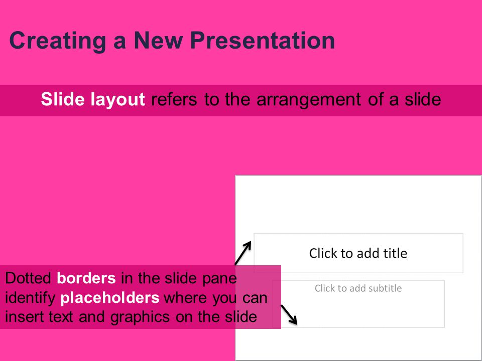 Creating a New Presentation You can create a blank presentation and apply preformatted colors, styles, and layouts called themes. Each theme has a uni