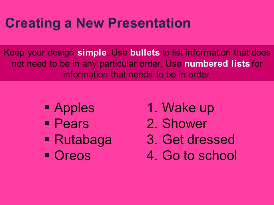Keep in mind two basic principles: 1. A presentation that is too busy can detract from the message you are trying to send 2. Design features should em