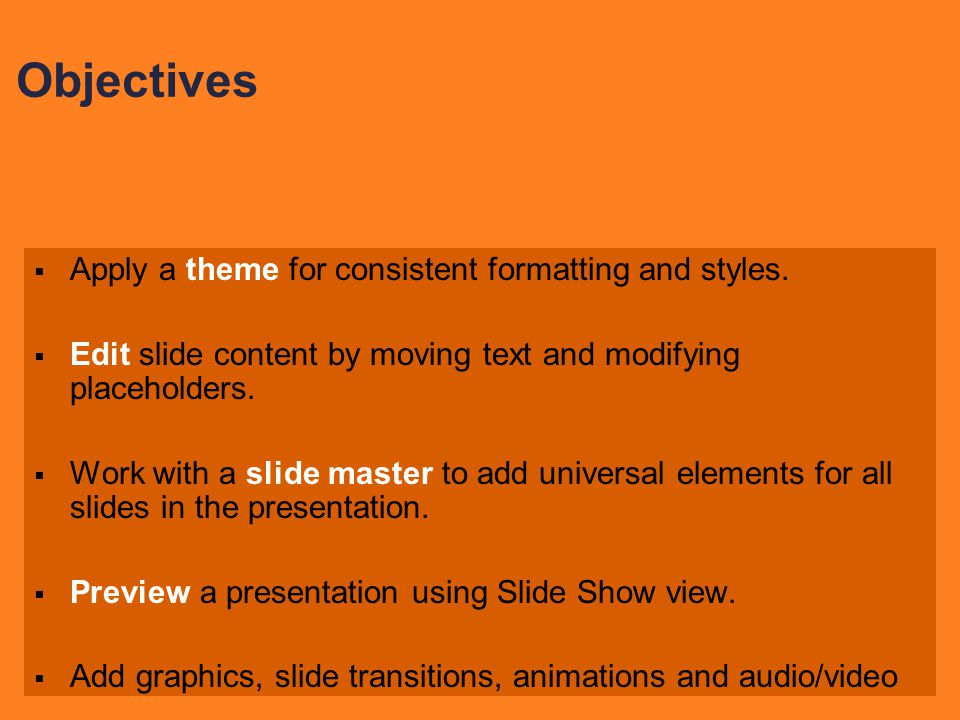  Apply a theme for consistent formatting and styles.