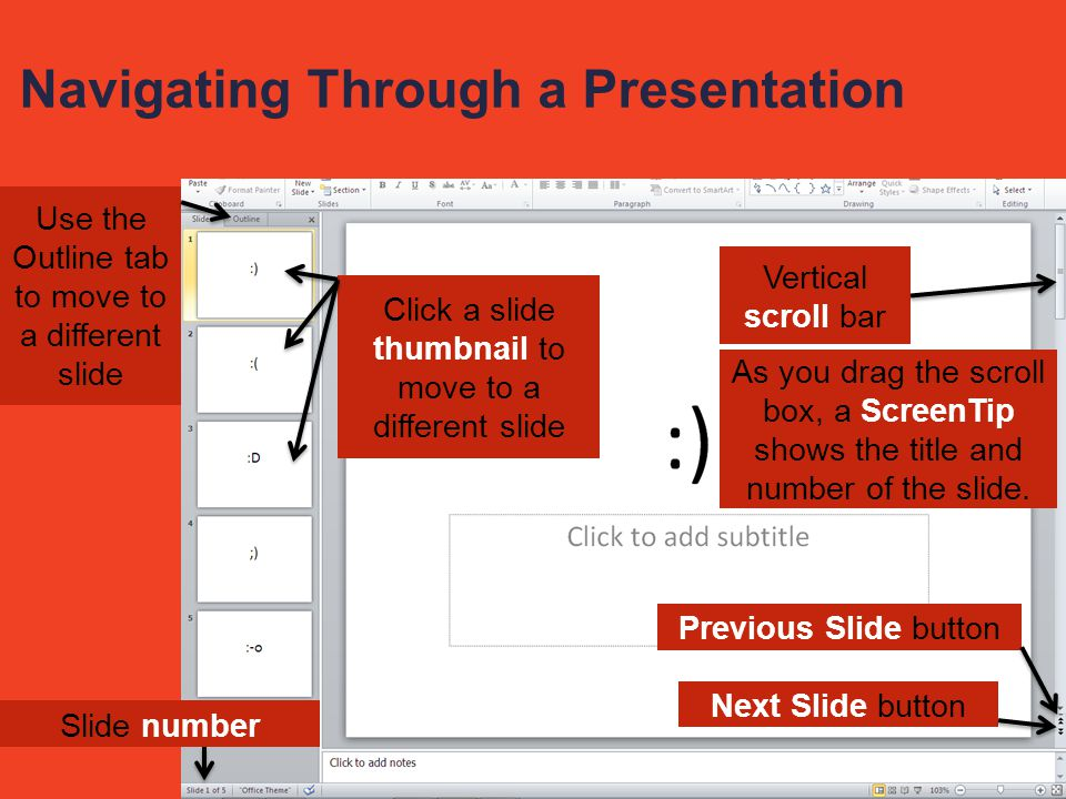 Navigating Through a Presentation Click a slide thumbnail to move to a different slide Slide number Vertical scroll bar Next Slide button Previous Slide button Use the Outline tab to move to a different slide As you drag the scroll box, a ScreenTip shows the title and number of the slide.