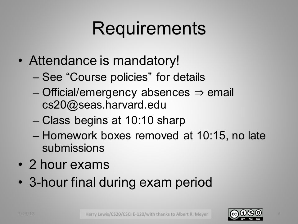 Tentative Grading Mix Homework35% Midterms (2)30% Final exam25% Check-in questions10% (Poor attendance: Exclusion or failure) 1/23/127