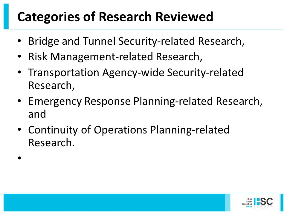 5 Fundamentals Reports Blast Resistant Highway Bridges: Design and Detailing Guidelines Costing Asset Protection: An All Hazards Guide for Transportation Agencies Security Primer for Transportation Agencies Guide to Emergency Response Planning at State Transportation Agencies Continuity of Operations Planning Guidelines for Transportation Agencies
