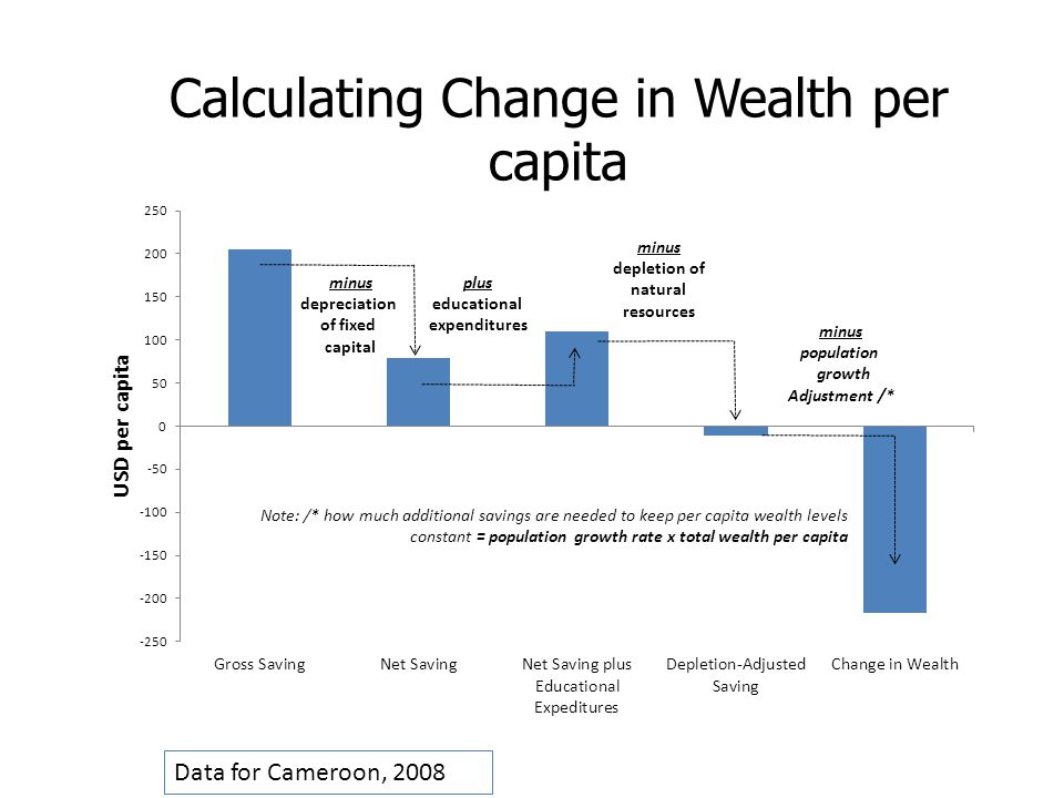 Data for Cameroon, 2008 Calculating Change in Wealth per capita