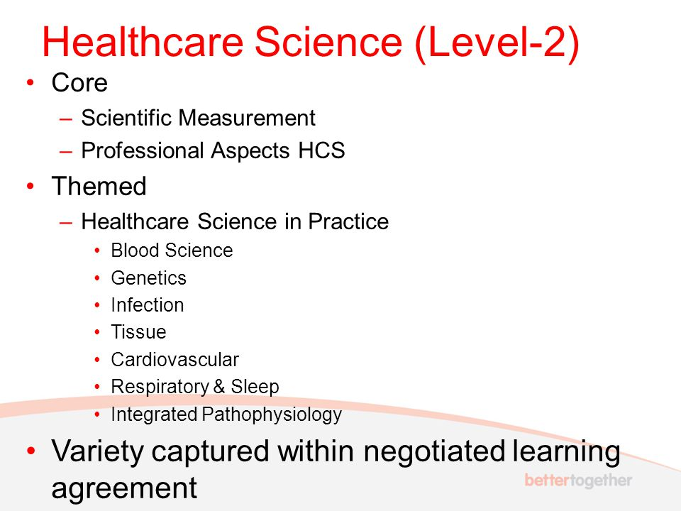 Healthcare Science (Level-2) Core –Scientific Measurement –Professional Aspects HCS Themed –Healthcare Science in Practice Blood Science Genetics Infe