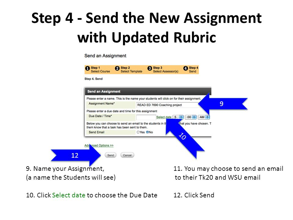 Step 4 - Send the New Assignment with Updated Rubric 9.