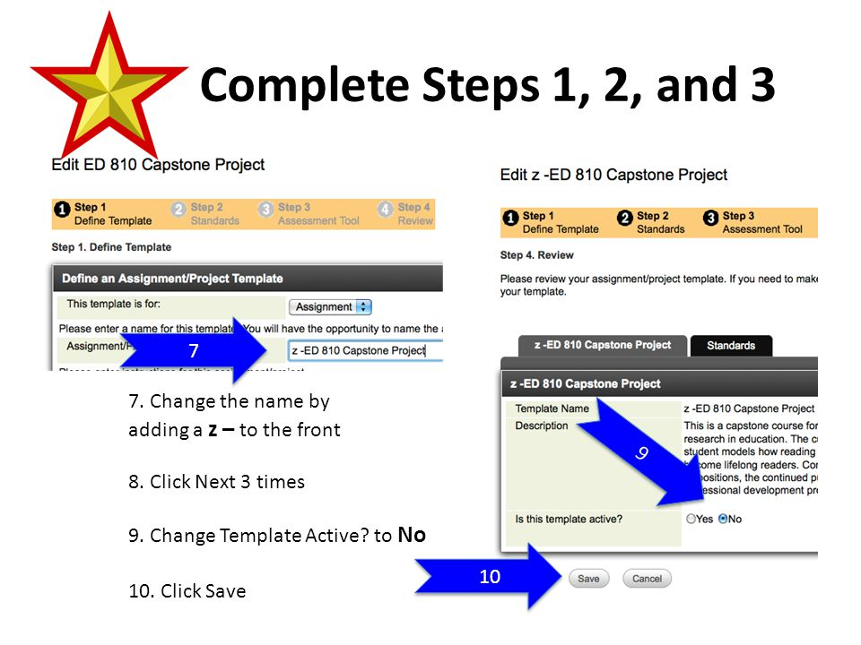 Create the New Assignment or Project Template 11.Click Create 12 11 12.