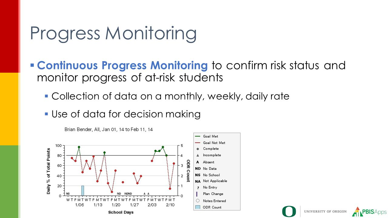  Continuous Progress Monitoring to confirm risk status and monitor progress of at-risk students  Collection of data on a monthly, weekly, daily rate