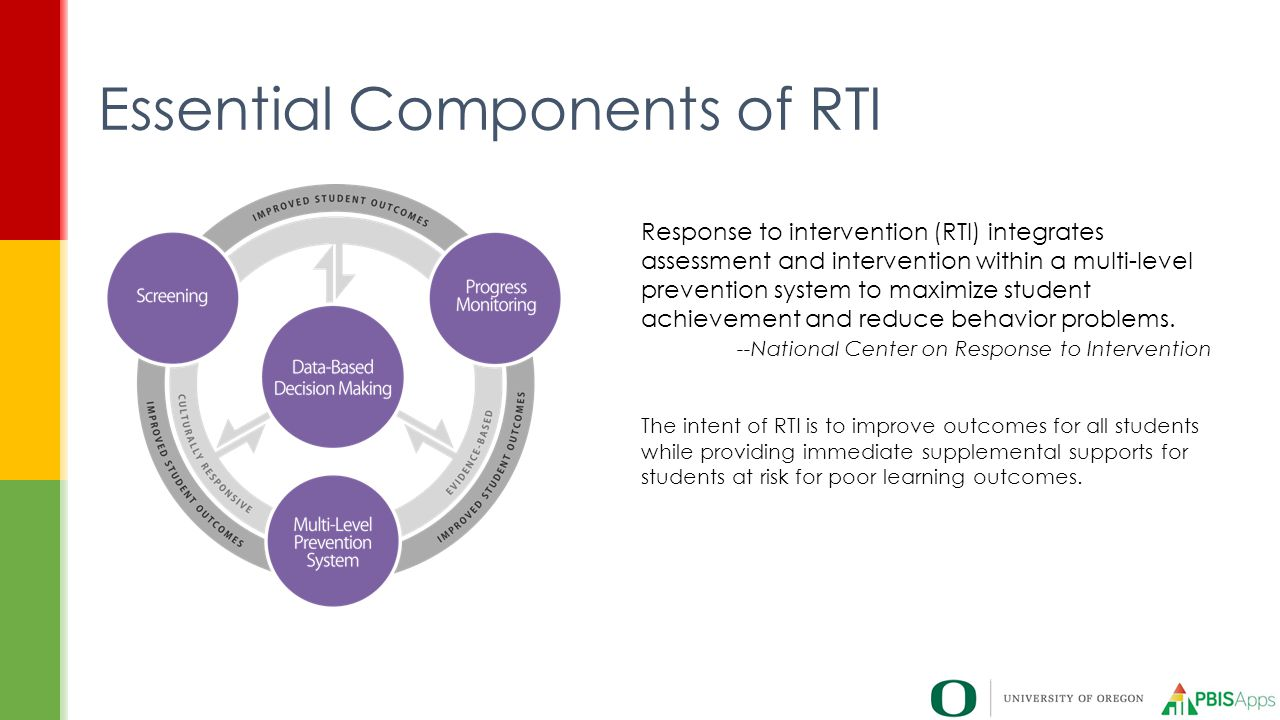 Essential Components of RTI Response to intervention (RTI) integrates assessment and intervention within a multi-level prevention system to maximize s