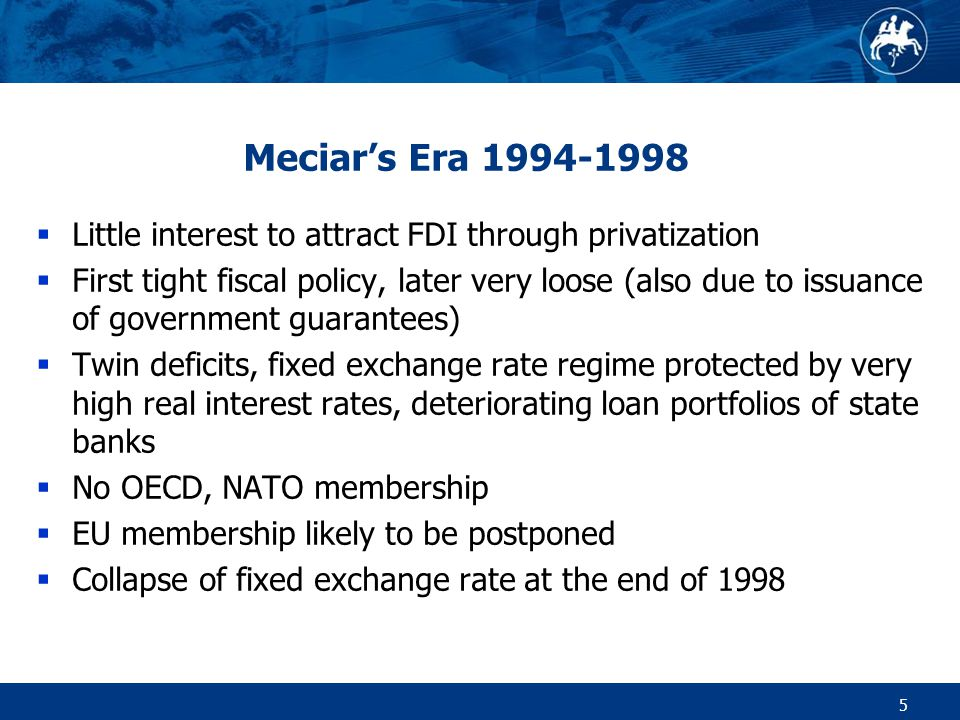 6 Stabilisation 1999-2002  Liberalisation of markets, high inflation and unemployment  Big push towards integration  OECD membership (2000)  Preparation for EU and NATO membership (2004)  Privatization of state banks including the cleaning up of loan portfolios (gross costs 10.6% of GDP, net 5.5% of GDP)  Opening up for FDI, big privatization improves foreign reserves as well as net foreign debt position