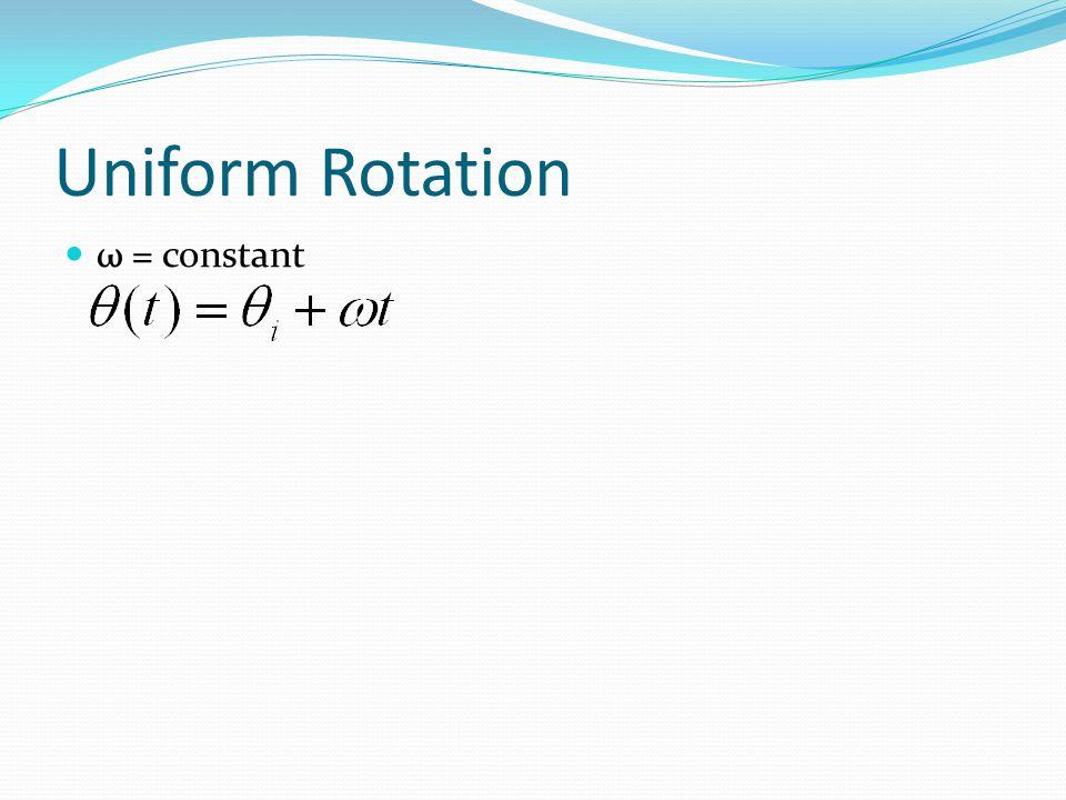 Uniform Rotation ω = constant