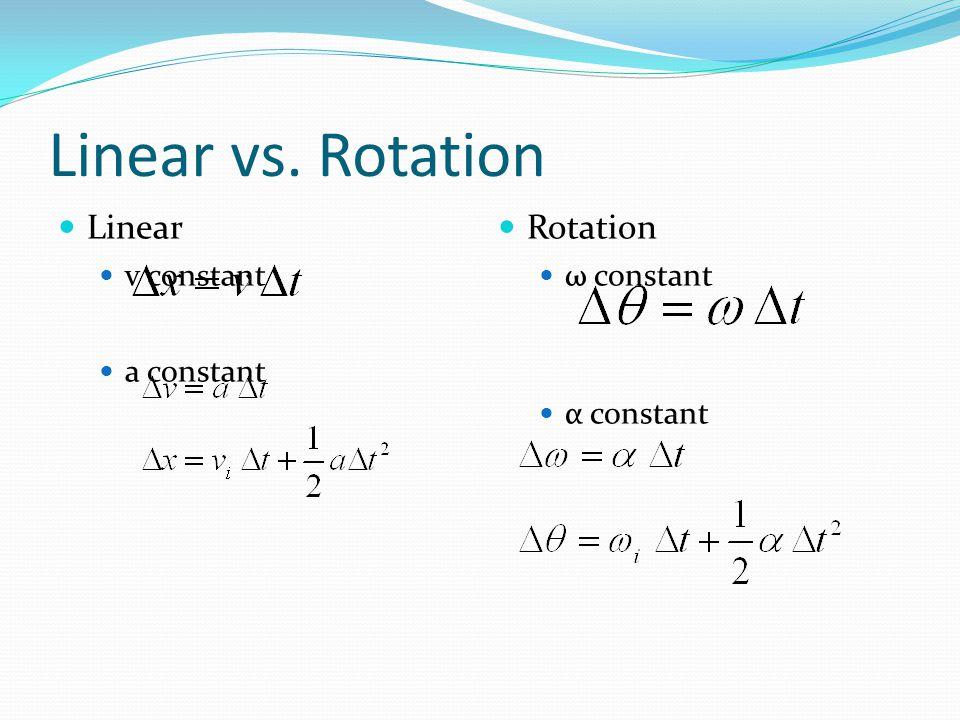 Linear vs. Rotation Linear v constant a constant Rotation ω constant α constant