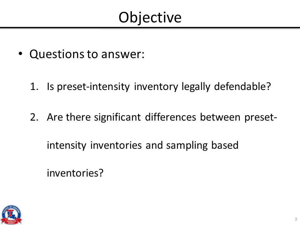 Objective Questions to answer: 1.Is preset-intensity inventory legally defendable? 2.Are there significant differences between preset- intensity inven