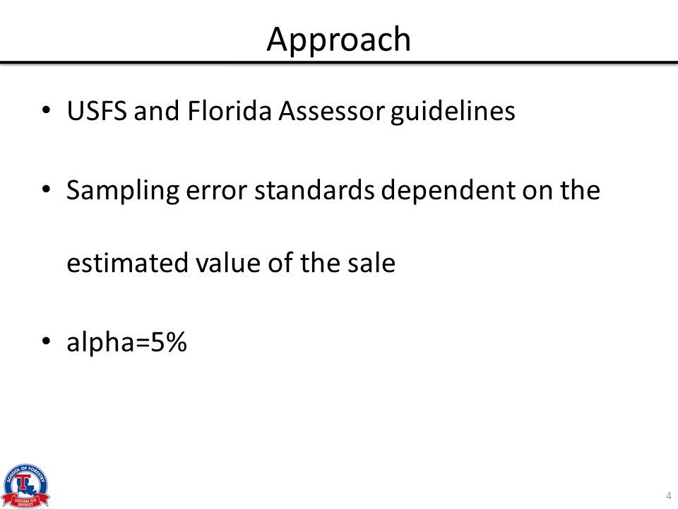 Approach USFS and Florida Assessor guidelines Sampling error standards dependent on the estimated value of the sale alpha=5% 4