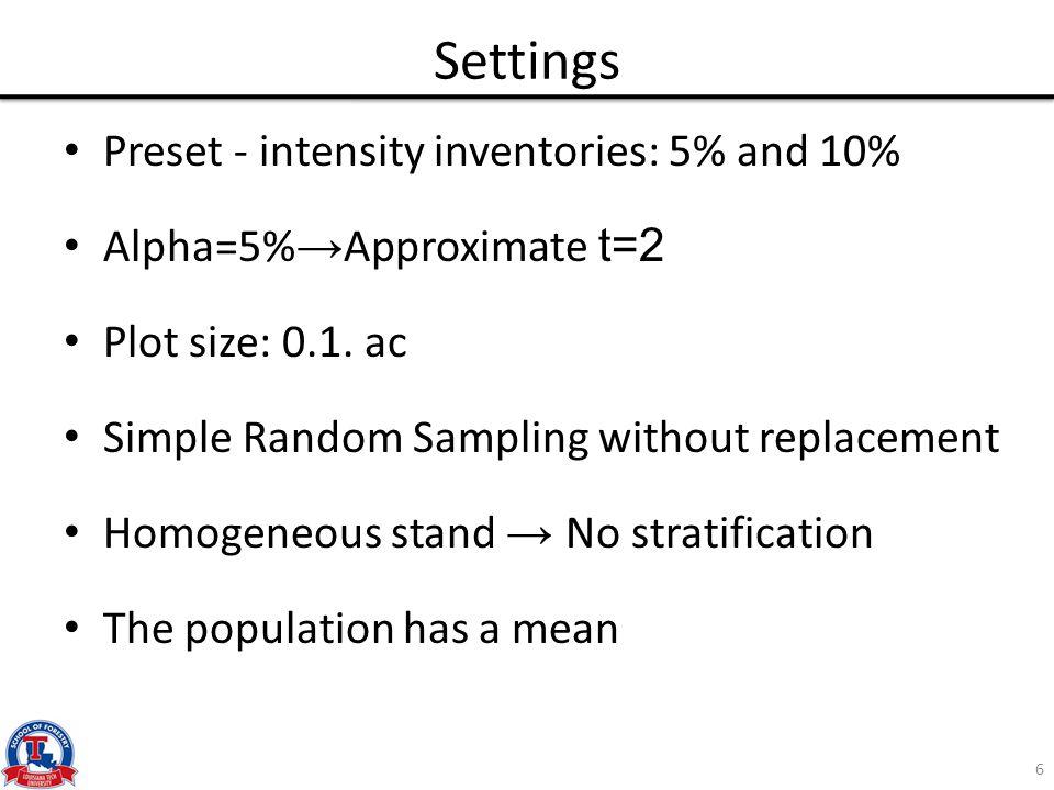 Intensity – CV for  =5% 17