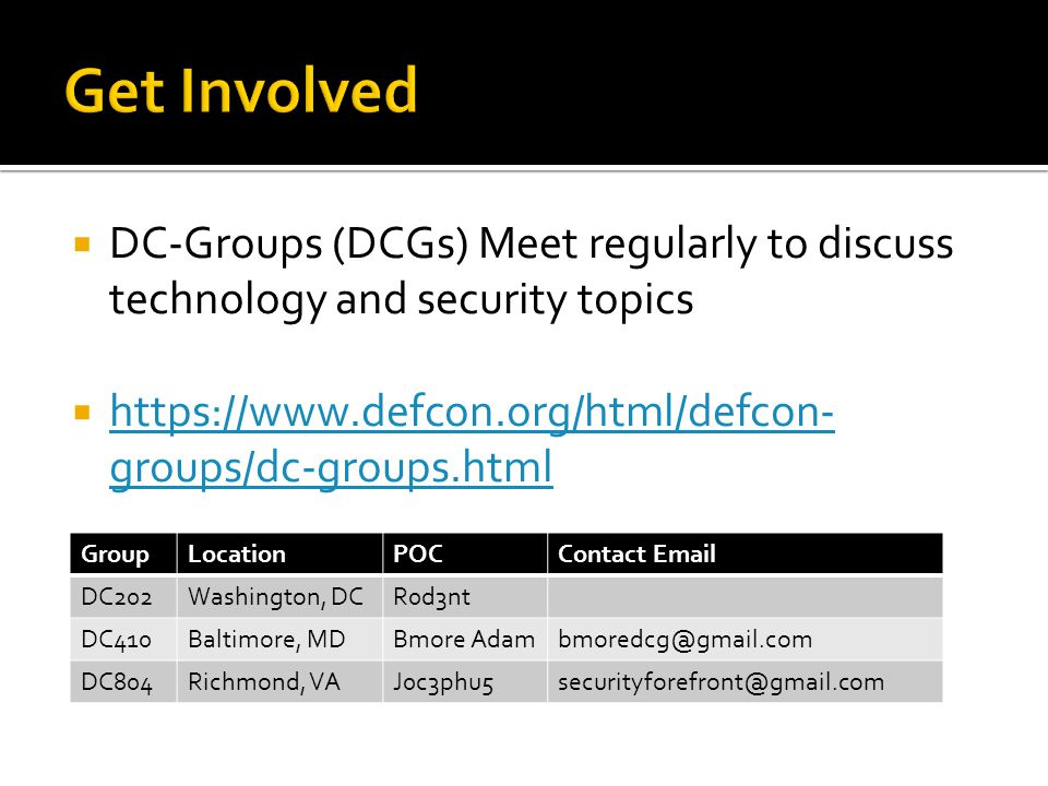  DC-Groups (DCGs) Meet regularly to discuss technology and security topics  https://www.defcon.org/html/defcon- groups/dc-groups.html https://www.defcon.org/html/defcon- groups/dc-groups.html GroupLocationPOCContact Email DC202Washington, DCR0d3nt DC410Baltimore, MDBmore Adambmoredcg@gmail.com DC804Richmond, VAJ0c3phu5securityforefront@gmail.com