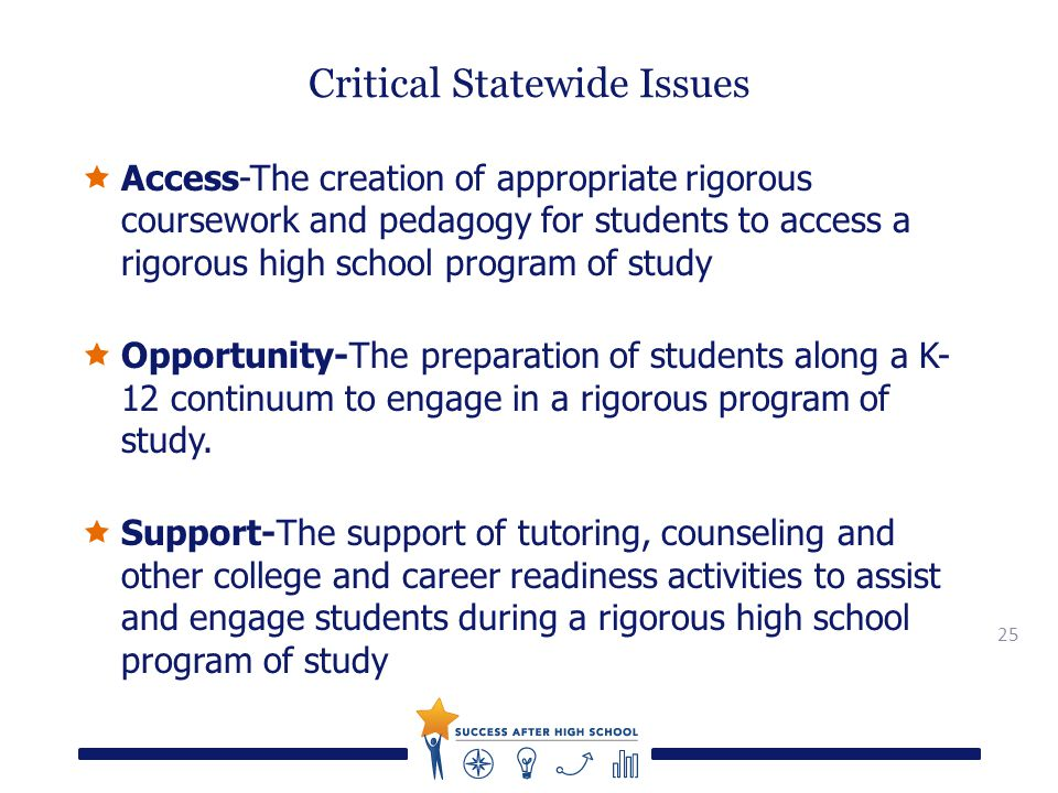 25 Critical Statewide Issues  Access-The creation of appropriate rigorous coursework and pedagogy for students to access a rigorous high school program of study  Opportunity-The preparation of students along a K- 12 continuum to engage in a rigorous program of study.