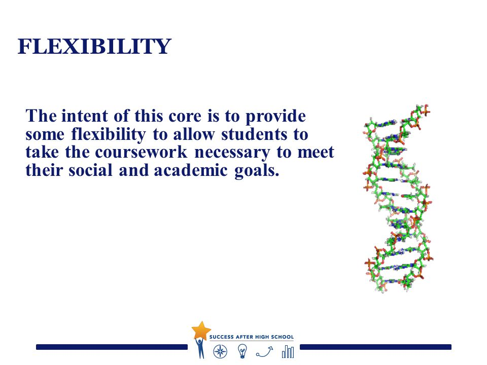 FLEXIBILITY The intent of this core is to provide some flexibility to allow students to take the coursework necessary to meet their social and academic goals.