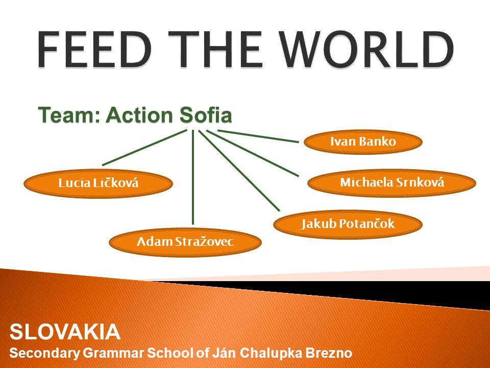 Ivan Banko Lucia Ličková Jakub Potančok Michaela Srnková Adam Stražovec Team: Action Sofia SLOVAKIA Secondary Grammar School of Ján Chalupka Brezno