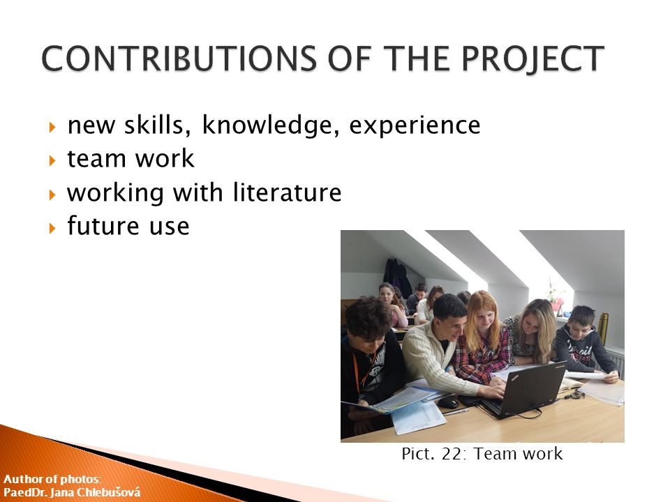  new skills, knowledge, experience  team work  working with literature  future use Pict.