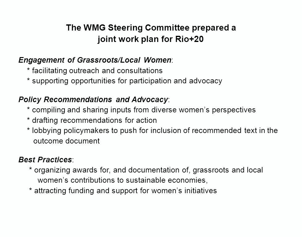 The WMG Steering Committee prepared a joint work plan for Rio+20 Engagement of Grassroots/Local Women: * facilitating outreach and consultations * supporting opportunities for participation and advocacy Policy Recommendations and Advocacy: * compiling and sharing inputs from diverse women's perspectives * drafting recommendations for action * lobbying policymakers to push for inclusion of recommended text in the outcome document Best Practices: * organizing awards for, and documentation of, grassroots and local women's contributions to sustainable economies, * attracting funding and support for women's initiatives
