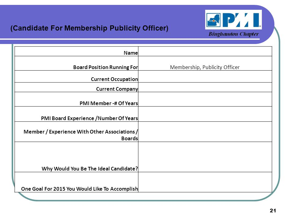 (Candidate For Membership Publicity Officer) Name Board Position Running ForMembership, Publicity Officer Current Occupation Current Company PMI Member -# Of Years PMI Board Experience /Number Of Years Member / Experience With Other Associations / Boards Why Would You Be The Ideal Candidate.