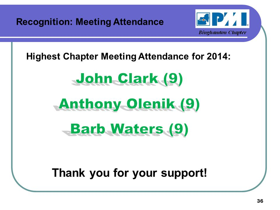 Recognition: Meeting Attendance 36