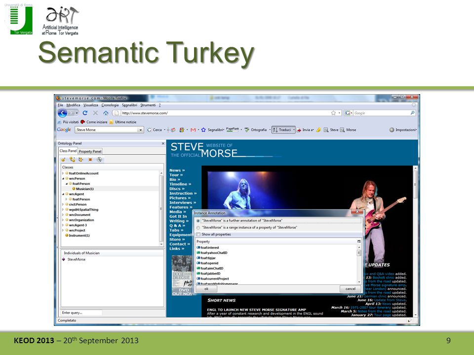 KEOD 2013 – 20 th September 2013 9 Semantic Turkey