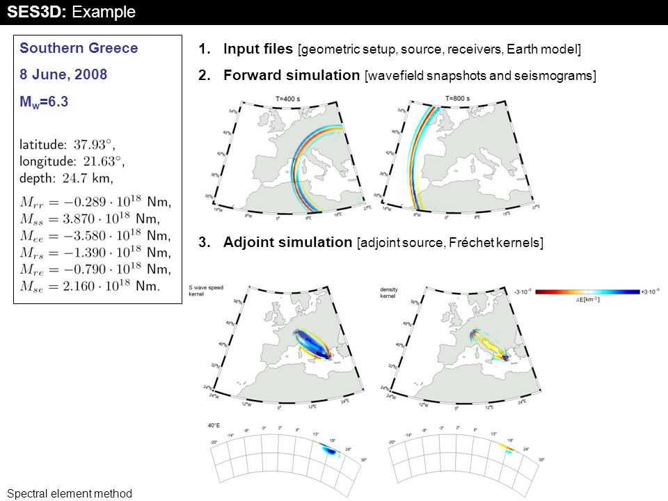 Spectral element method 12 SES3D: Example Southern Greece 8 June, 2008 M w =6.3 1.Input files [geometric setup, source, receivers, Earth model] 2.Forward simulation [wavefield snapshots and seismograms] 3.Adjoint simulation [adjoint source, Fréchet kernels]