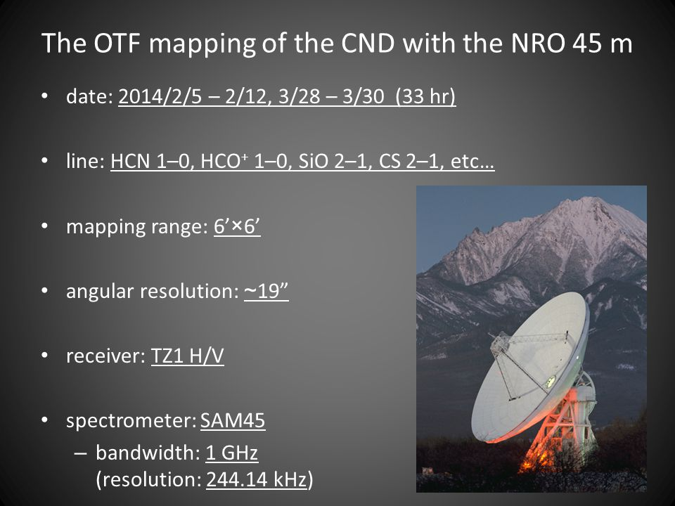 The OTF mapping of the CND with the NRO 45 m date: 2014/2/5 – 2/12, 3/28 – 3/30 (33 hr) line: HCN 1–0, HCO + 1–0, SiO 2–1, CS 2–1, etc… mapping range: