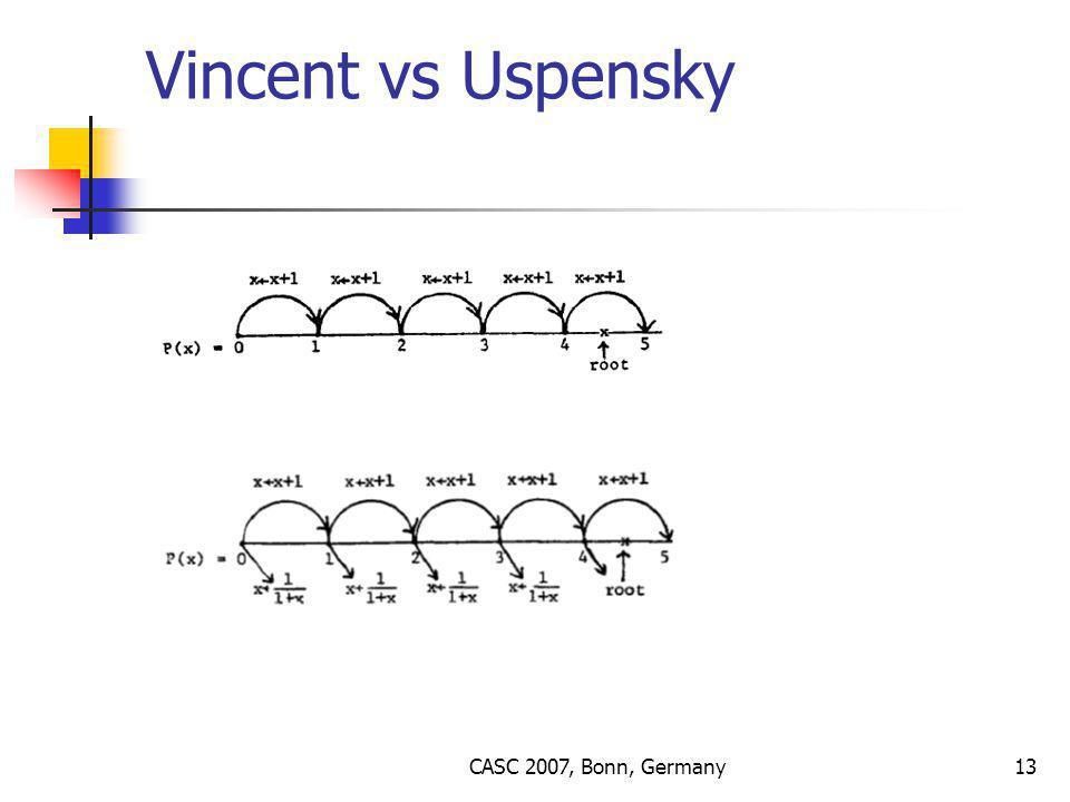 CASC 2007, Bonn, Germany13 Vincent vs Uspensky