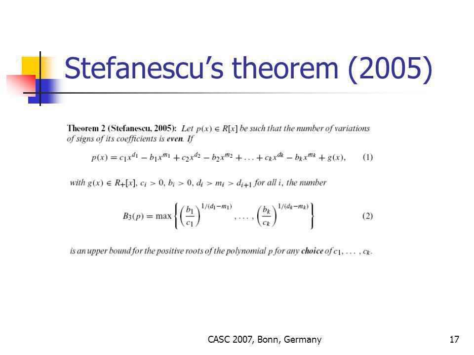 CASC 2007, Bonn, Germany17 Stefanescu's theorem (2005)