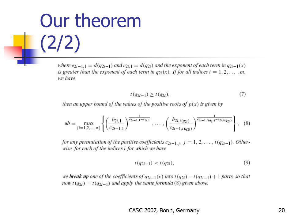 CASC 2007, Bonn, Germany20 Our theorem (2/2)