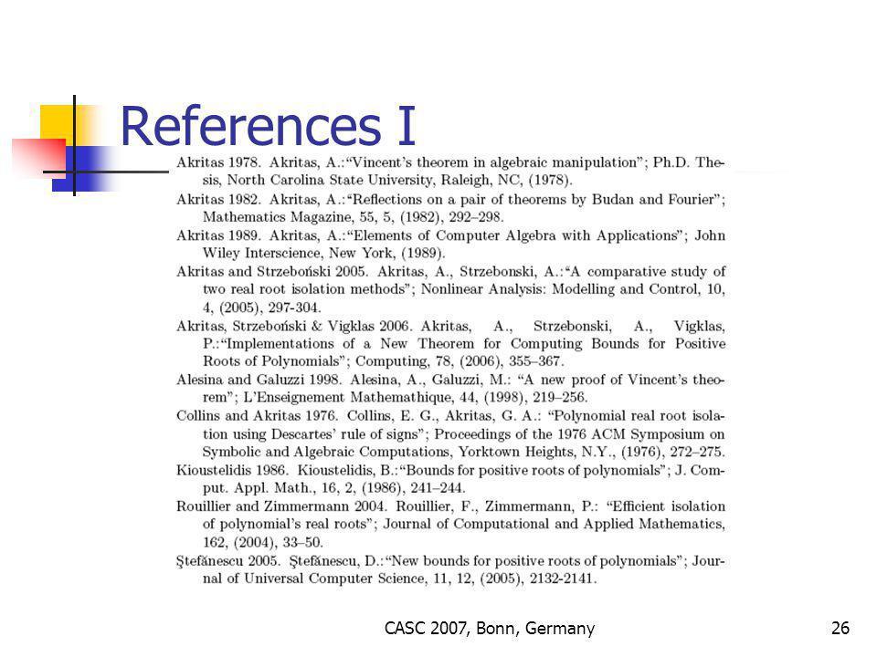CASC 2007, Bonn, Germany26 References I