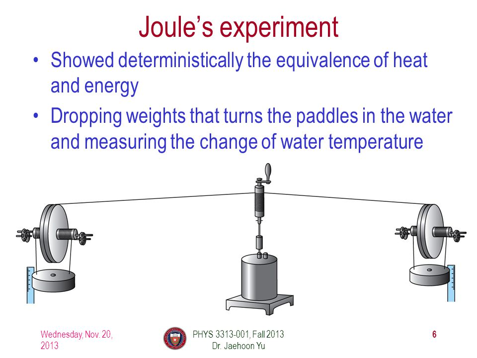 Joule's experiment Showed deterministically the equivalence of heat and energy Dropping weights that turns the paddles in the water and measuring the change of water temperature Wednesday, Nov.