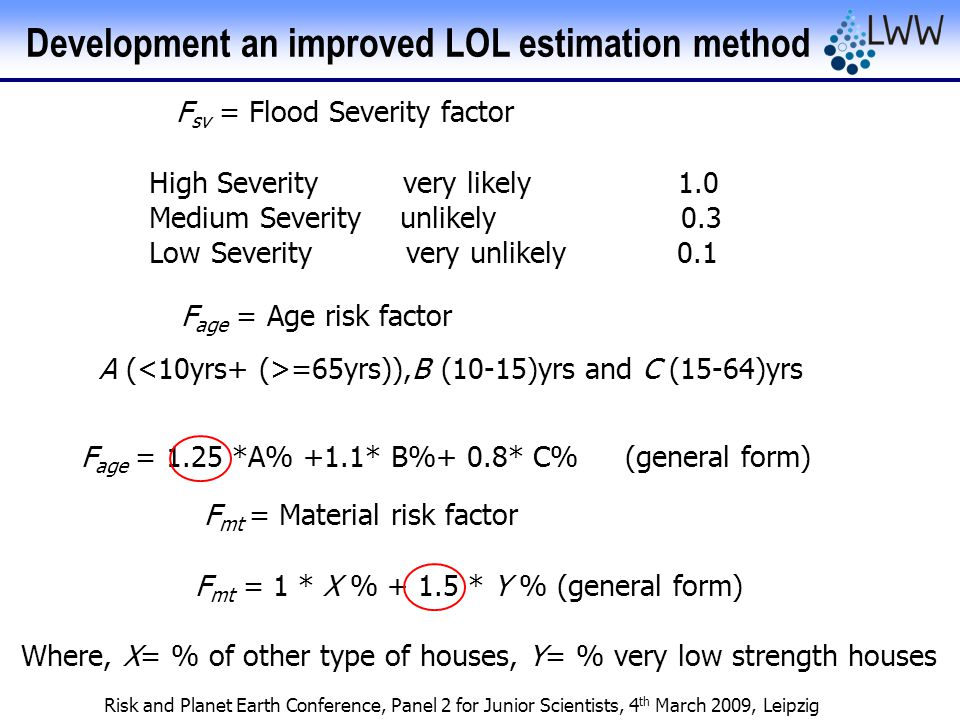 Risk and Planet Earth Conference, Panel 2 for Junior Scientists, 4 th March 2009, Leipzig F sv = Flood Severity factor High Severity very likely 1.0 Medium Severity unlikely 0.3 Low Severity very unlikely 0.1 F age = Age risk factor A ( =65yrs)),B (10-15)yrs and C (15-64)yrs F age = 1.25 *A% +1.1* B%+ 0.8* C% (general form) F mt = Material risk factor F mt = 1 * X % + 1.5 * Y % (general form) Where, X= % of other type of houses, Y= % very low strength houses Development an improved LOL estimation method