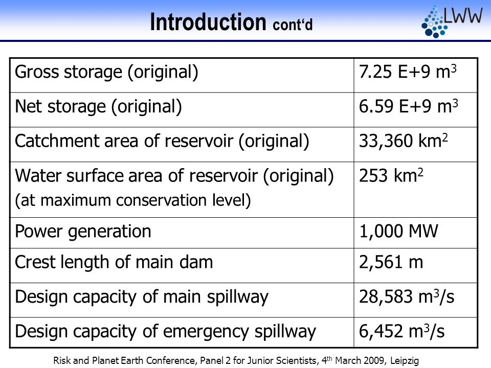 Risk and Planet Earth Conference, Panel 2 for Junior Scientists, 4 th March 2009, Leipzig Introduction cont'd Gross storage (original)7.25 E+9 m 3 Net storage (original)6.59 E+9 m 3 Catchment area of reservoir (original)33,360 km 2 Water surface area of reservoir (original) (at maximum conservation level) 253 km 2 Power generation1,000 MW Crest length of main dam2,561 m Design capacity of main spillway28,583 m 3 /s Design capacity of emergency spillway6,452 m 3 /s