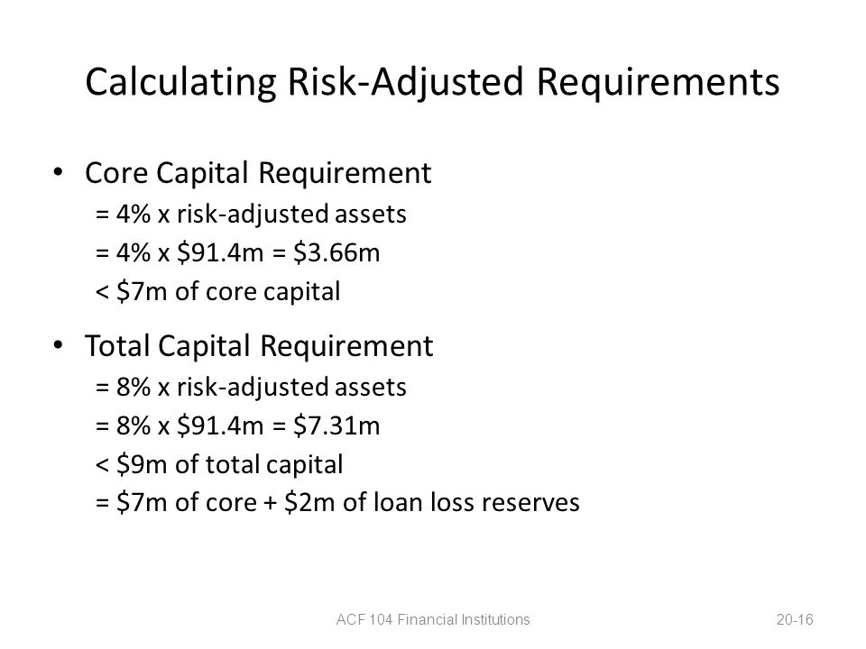 Calculating Risk-Adjusted Requirements Core Capital Requirement = 4% x risk-adjusted assets = 4% x $91.4m = $3.66m < $7m of core capital Total Capital