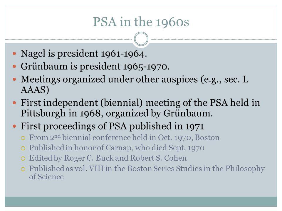 PSA in the 1960s Nagel is president 1961-1964. Grünbaum is president 1965-1970.