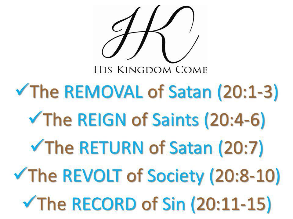 The REMOVAL of Satan (20:1-3) The REMOVAL of Satan (20:1-3) The REIGN of Saints (20:4-6) The REIGN of Saints (20:4-6) The RETURN of Satan (20:7) The RETURN of Satan (20:7) The REVOLT of Society (20:8-10) The REVOLT of Society (20:8-10) The RECORD of Sin (20:11-15) The RECORD of Sin (20:11-15)